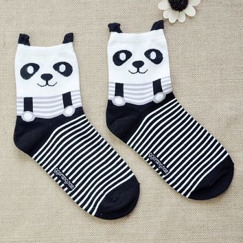 FunShop Woman's Bear and Panda Pattern Cotton Ankel Socks in 2 Colors
