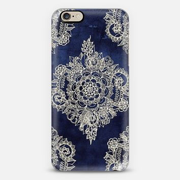 Cream Floral Pattern on Deep Indigo Ink iPhone 6 case by Micklyn Le Feuvre   Casetify