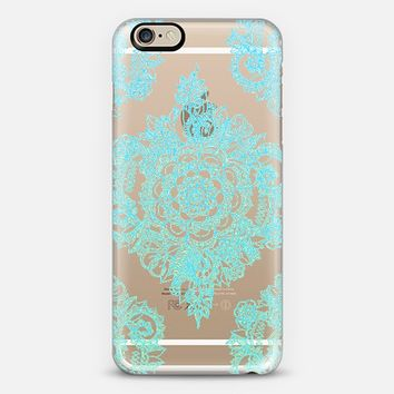 Pretty Turquoise Floral Pattern on Crystal Transparent iPhone 6 case by Micklyn Le Feuvre | Casetify