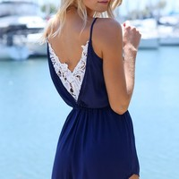 DELILAH PLAYSUIT - navy and white lace playsuit with lace back detail