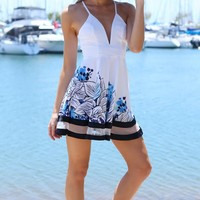 CAULFIELD DRESS - white and blue floral print with mesh panel cocktail dress
