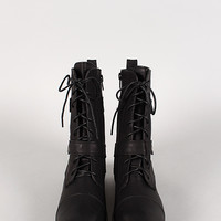 Bamboo Battle-18 Belted Military Lace Up Boot