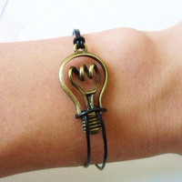 women bracelet girls bracelet jewelry bangle bracelet leather bracelet  with bronze bulb and black leather cuff  bracelet wrist SH-0183