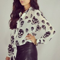 Luna Vintage  Skull Tie Crop - White