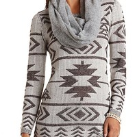 Tribal Stitch Tunic Sweater by Charlotte Russe - Dark Brown Combo