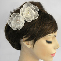 Organza camellia weddings hair pin, rhinestone accent, bridal fascinator, polka dot fabric tulle flower hair charm, handmade