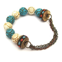 Mixed Metal Multi Strand Chain and Half Stretch Bracelet with Magnesite Beads