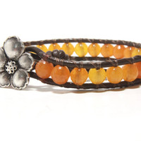 Orange Beaded Wrap Bracelet, Leather Wrap Bracelet