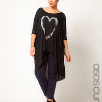 ASOS CURVE Exclusive Dip Back Top With Heart Feather at asos.com