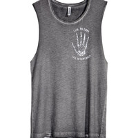 H&M - Tank Top with Printed Design - Gray - Ladies
