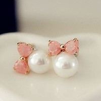 Pearl Ball And Pink Bow Earrings