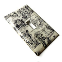 Ivory and Black Toile Light Switch Plate, Single Light Switch Cover