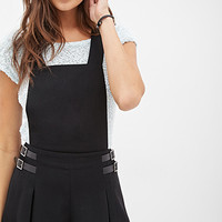 FOREVER 21 Woven Buckled Shorts Overalls Black