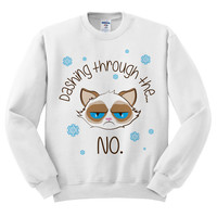 White Crewneck Dashing Through The No Grumpy Cat Ugly Christmas Sweatshirt Sweater Jumper Pullover