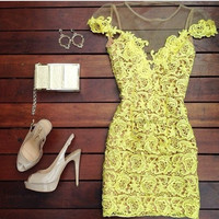 Hollow lace sexy yellow dress