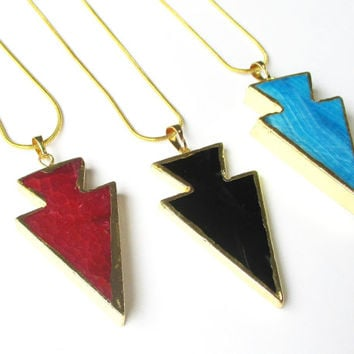 Arrowhead Pendant Necklace, Arrow Pendant, Black, Red, Blue Arrowhead Agate Gemstone Pendant, Dipped in Gold Druze Gold Chainmaille Necklace