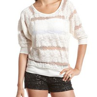 Sheer Lace Sweatshirt Top: Charlotte Russe