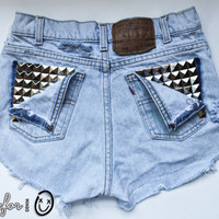 light classic blue / Levi&#x27;s vintage denim / pyramid pocket studs &amp; destroyed / mid-rise shorts