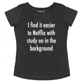 Study In The Background (Dark)-Female Black T-Shirt L |