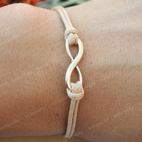 Infinity bracelet- Karma bracelet-  Adjustable khaki string bracelet-Vintage love bracelet