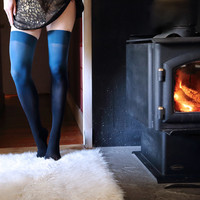 Teal Ombre Thigh Highs | Dip Dyed Gradient Tights by Velvet Heart | Playful Sophisticated Legwear at Between the Sheets