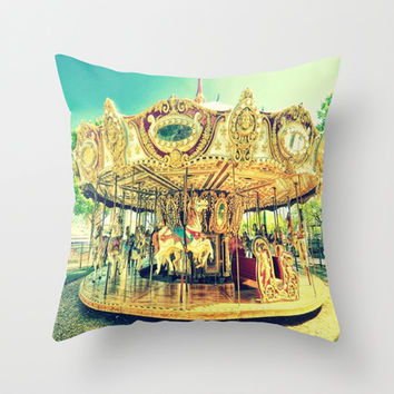 Carousel : Fond Memories of Childhood  Throw Pillow by Lilkiddies