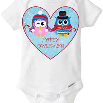 Happy Holidays Owlidays Owl Owls Onesuit Shirt Pink Owl Candy Cane / Baby Girl / Personalized Customized with Child's Name and 2014 Keepsake!
