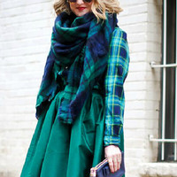 Green And Navy Plaid Raw Edge Scarf