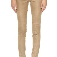 Theory Sintra Pitella L Washed Suede Leggings