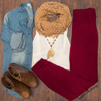 Delaney Tapered Pants - Burgundy