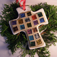 Multicolored Cross Christmas Ornament with Stained Glass Tiles