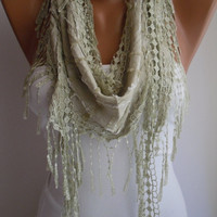 Light Green  Shawl and Scarf  Headband - Cowl with Lace EdgeSummer Trends