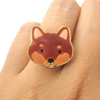 Cute Shiba Inu Puppy Dog Face Shaped Adjustable Animal Ring in Brown