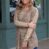 Campout Lace Sleeve Sweater {Taupe}