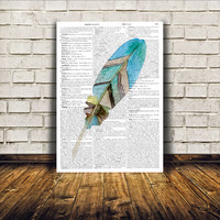 Feather watercolor print Nursery poster Natural history