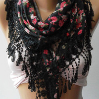 Black - Pink - Flowers - Elegance  Shawl / Scarf with Lacy Edge
