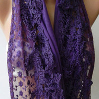 Feminine - Purple - Elegance Shawl / Scarf with Lace Edge.