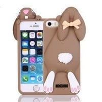 """Bling Sweet Cases® 3D Lovely Cartoon Coffee Bunny Rabbit Rubber Soft Silicone Phone Case Cover For iPhone 6 -size 4.7"""""""