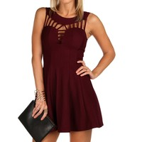 Burgundy Flare Out Skater Dress