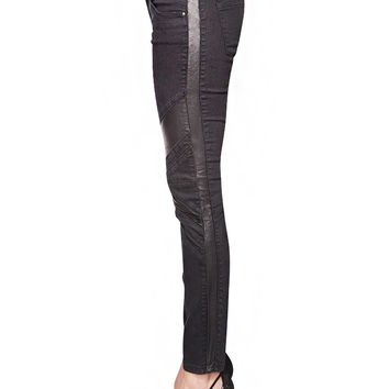 Leather panel skinny pants
