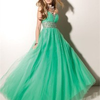 Strapless Sweetheart Beaded Empire Waist Low Back Floor Length Tulle Prom Dress PD1944