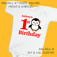 Penguin 1st Birthday. Personalized T Shirt Raglan Onesuit Romper. One 1st, 2nd, 3rd, 4th, 5th, 6th Happy Birthday Fox Deer Owl Monkey (1828G)