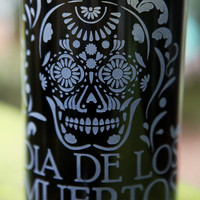Dia De Los Muertos (Day of the Dead) skeleton drinking glass upcycled from wine bottle