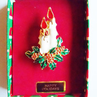 Vintage Candle with Holly Pin Brooch Christmas Holiday Jewelry Jewellry Gift for Her