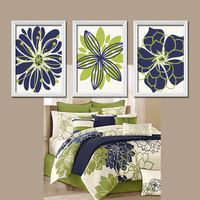 Navy Blue Green Wall Art Bedroom Wall Art Bathroom Wall Art Bedroom Pictures Flower Wall Art Flower Pictures Flower Burst Dahlia Set of 3
