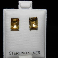 3.98ctw Golden Citrine 9x7mm Emerald cut Sterling Silver stud Earrings November
