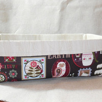Pretty Brown and Cream Christmas Inspired Fabric Basket