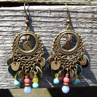 Gypsy Blue Laguna Chandelier Beaded Dangle Earrings - Peacock Blue