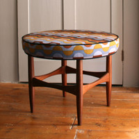 Winter's Moon ? Vintage Kofod Larsen Stool in Vintage Heals fabric