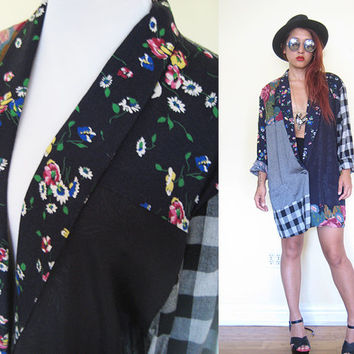 Vintage unisex 80's patchwork blazer floral flower oversized slouchy black plaid dress blouse.